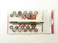 Экструдер кондитерский для мастики с 20 насадками (металлический)
