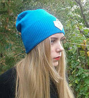 Женская шапочка синяя стильная