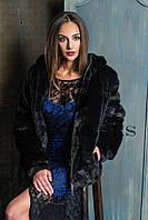 Полушубок женский из эко меха короткий с капюшонном 031 черный автоледи, фото 1
