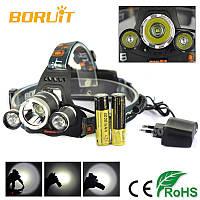 Налобный фонарь Boruit RJ-3000 T6 диод Wimpex + Авто зарядка для охоты