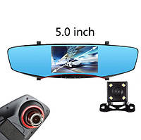 Автомобильное зеркало-видеорегистратор с камерой заднего вида.Экран 5 дюймов с картой памяти 8 Гб. Черное.