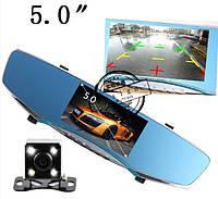Автомобильное зеркало-видеорегистратор с камерой заднего вида. Экран 5 дюймов с картой памяти 8 гб.