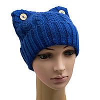 """Стильная зимняя шапка с отворотом """"Кошка"""""""