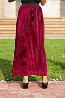 Женская Стильная юбка плиссе, цвет: марсала