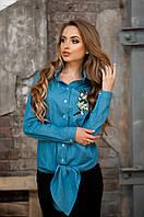 Женская Стильная рубашка с узлом и вышивкой, цвет: джинс