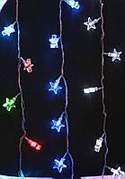 Гирлянда 20 LED Звезды черный провод