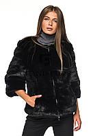 Полушубок женский из эко меха короткий 134 черный