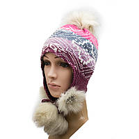 Подростковая зимняя вязаная шапка с ушками