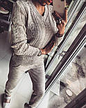Женский модный теплый вязаный костюм: свитер и штаны (4 цвета), фото 2