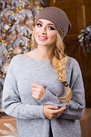Молодіжна темно-бежева шапка з бомбоном Chanel