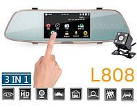 """Регистратор-зеркало DVR L808 Full HD 5""""+ камера заднего вида+сенсорный экран"""