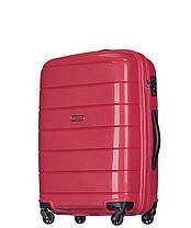 Дорожный чемодан из полипропилена на 4-х колесах (средний) Puccini Madagaskar красного цвета, фото 2