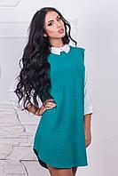 Платье женское, цвет: ментол+белый, размер: 42-44