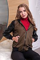 "Женская Куртка с рукавами из эко-кожи ""Army style"", цвет: хаки"
