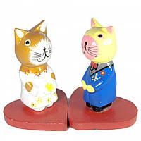 Статуэтка Кот с кошкой на сердечке дерево 2 шт