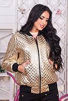 Куртка женская весна, цвет: золотой, размер: 42