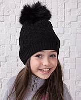 Вязанная шапка с меховым помпоном для девочек - Артикул 12А (черная)