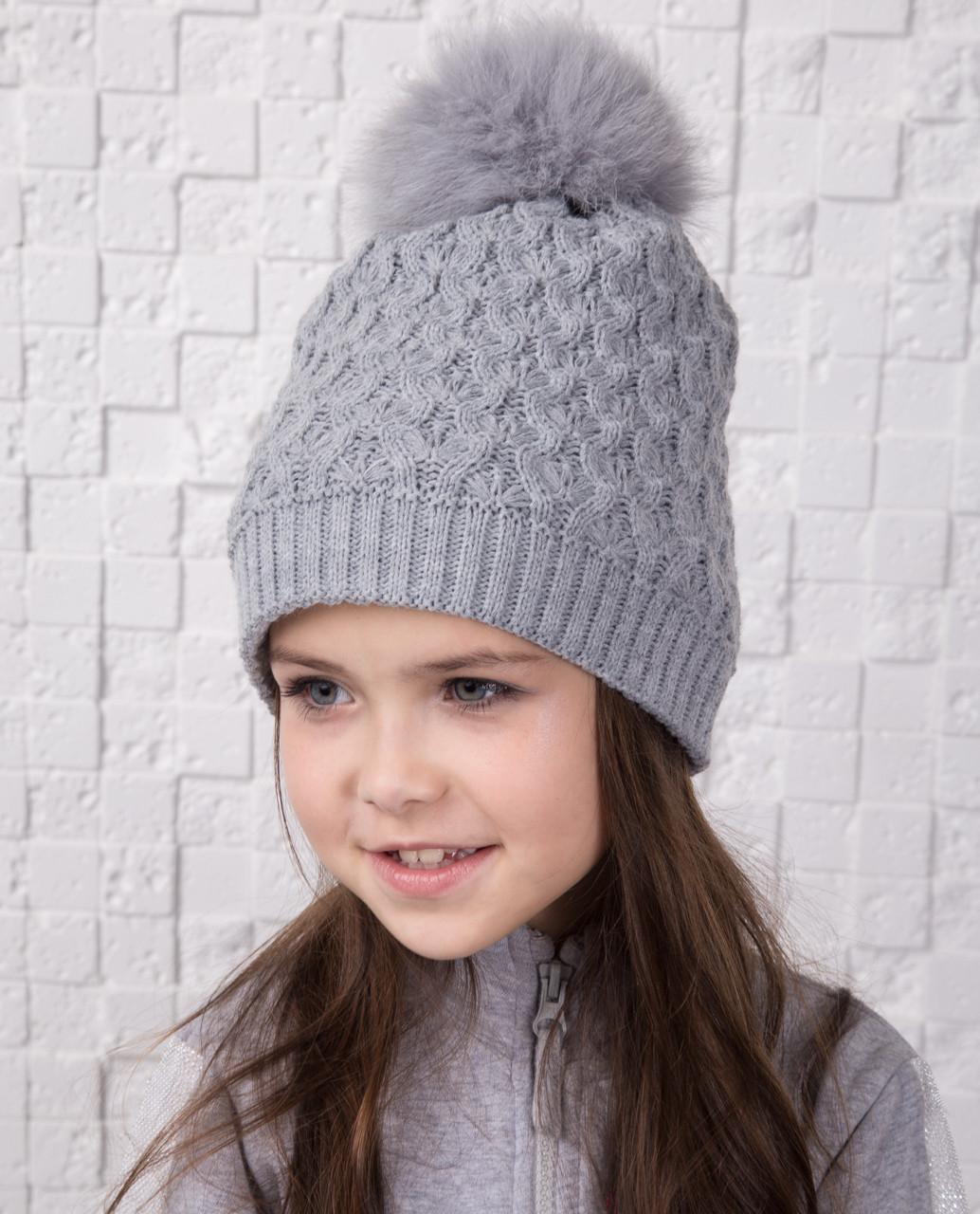 Вязанная шапка с меховым помпоном для девочек - Артикул 12А (серый)