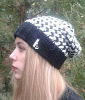 Женская шапка, черно белая,теплая