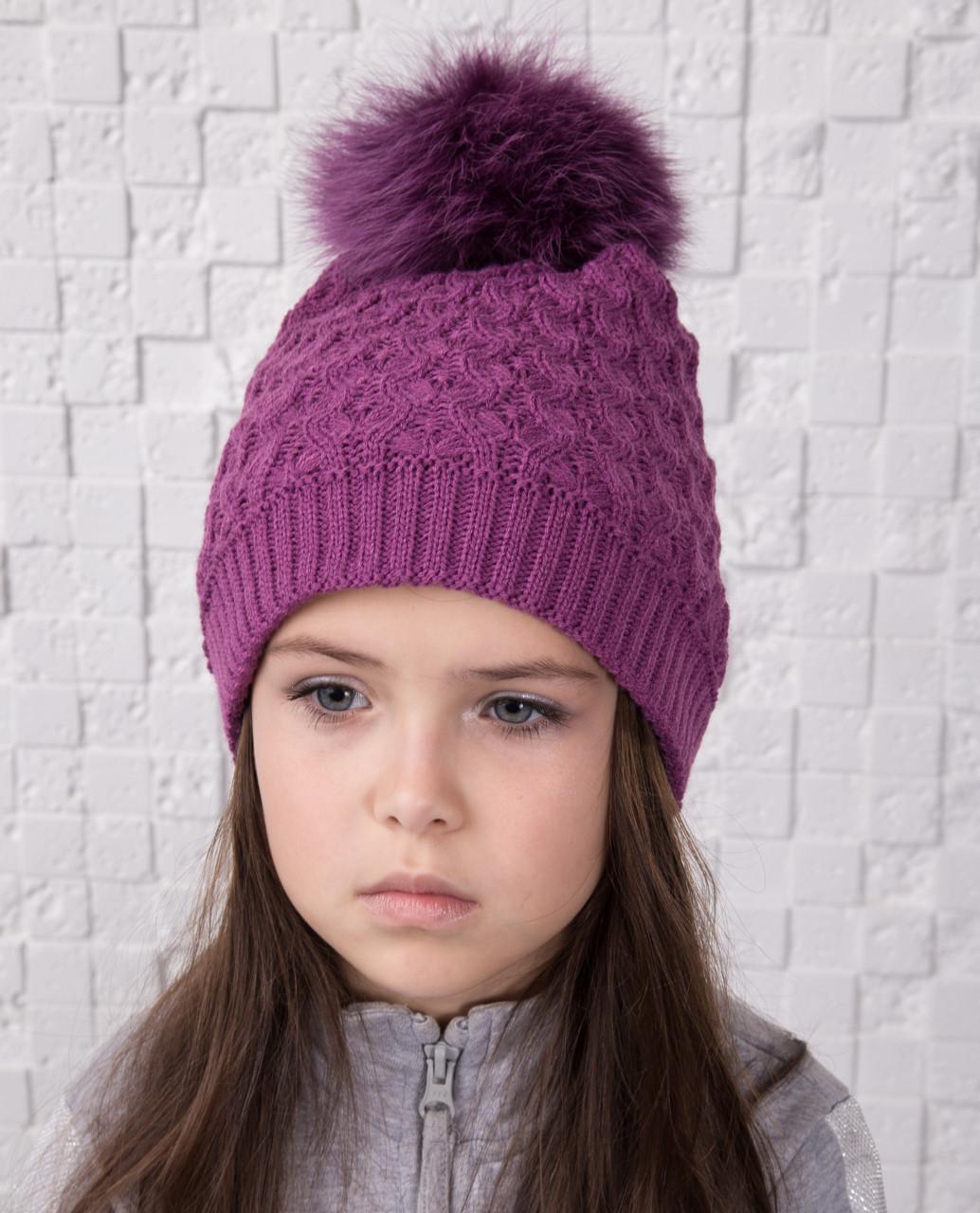 Вязанная шапка с меховым помпоном для девочек - Артикул 12А (фиолет)