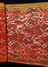 Стрейчевое кружево -854,ширина 22.5см,цвет красный с золотом