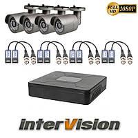 Комплект 3G-SDI видеонаблюдения из 4-х камер и видеорегистратора interVision KIT-441W