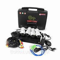 Комплект видеонаблюдения из 4-х камер и видеорегистратора Partizan Outdoor Kit 1MP 4xAHD