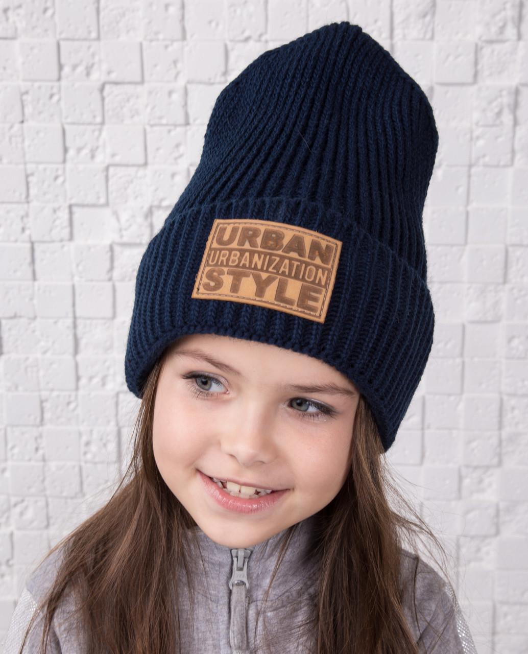 Стильная вязаная шапка для девочки - Urban Style - Артикул olna (разные цвета)