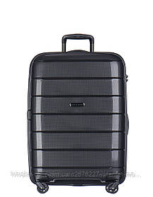 Дорожный чемодан из полипропилена на 4-х колесах (средний) Puccini Madagaskar черного цвета