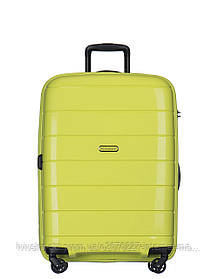 Дорожный чемодан из полипропилена на 4-х колесах (средний) Puccini Madagaskar салатового цвета