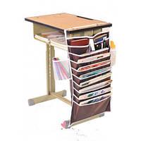 Настольный подвесной органайзер для учебных книг и тетрадей (коричневый)
