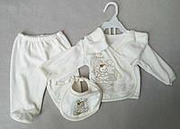 Велюровый ясельный набор из 5 предметов для новорожденных 0-3 мес ползунки кофточка шапочка царапки слюнявчик
