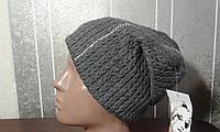 Вязаная шапка серая с камнями