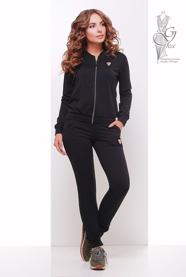 Черный цвет Женского спортивного костюма Прада