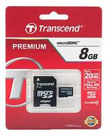 Карта памяти Transcend MicroSDHC 8GB Class 10 + SD адаптер Premium 400x!