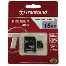 Карта памяти Transcend MicroSDHC 16GB Class 10 + SD адаптер Premium 400x!, фото 2