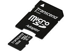 Карта памяти Transcend MicroSDHC 16GB Class 10 + SD адаптер Premium 400x!, фото 3