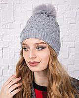 Вязанная женская шапка с меховым помпоном на зиму - Артикул 12А (серый)