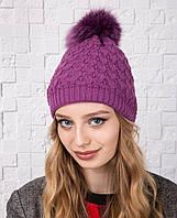 Вязанная женская шапка с меховым помпоном на зиму - Артикул 12А (фиолет)