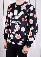 Мужская теплая кофта Adidas originals, dsquared синяя с цветами