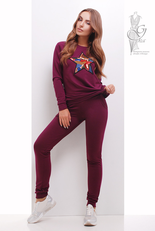 Цвет Марсала Свитшота женского и штанов Зирка