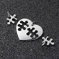 Подвеска Сердце, Пазлы, Цинковый сплав, Серебряный тон, 30 мм x 27 мм, 15 мм x 14 мм