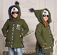 """Детская зимняя куртка-парка унисекс синтепон + овчина 1021 """"Philipp Plein"""" в расцветках"""