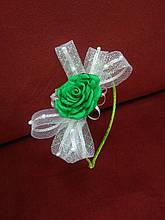 Обруч детский с бантиком и цветком белый с зеленым