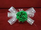 Обруч детский с бантиком и цветком белый с зеленым, фото 2