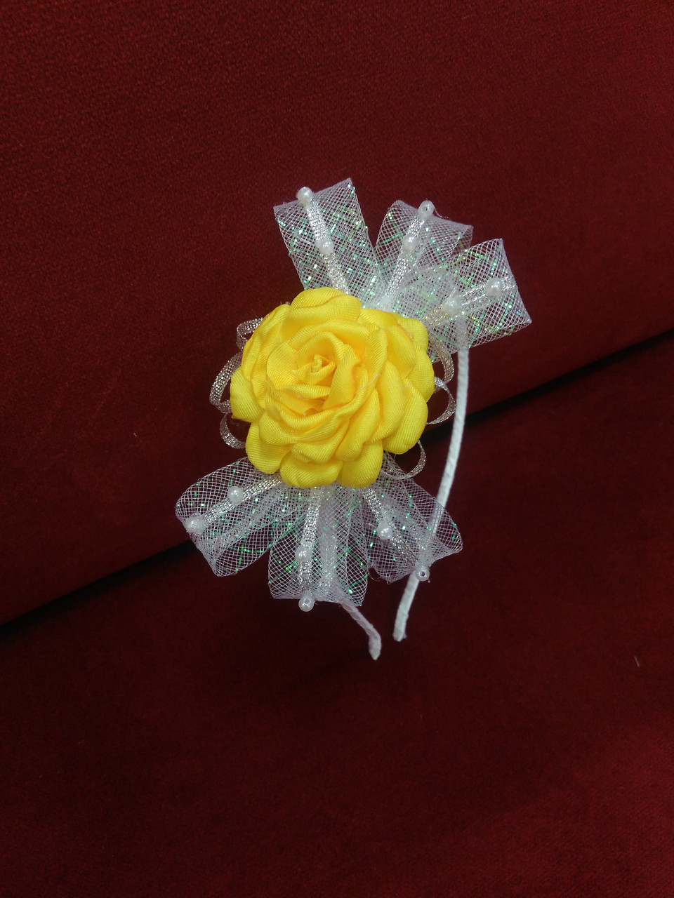 Обруч детский с бантиком и цветком белый с желтым