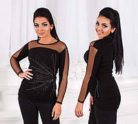 """Элегантный женский нарядный свитерок до больших размеров 3076-1 """"Звезда Стразы"""""""