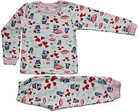 Пижама на байке для девочки, молочная, рисунок кошек, рост 98 см, Фламинго
