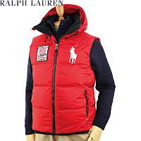 Polo Ralph Lauren Mens Big Pony Down PRL 67 USA Alpine Ski Hoode Vest Jacket RED