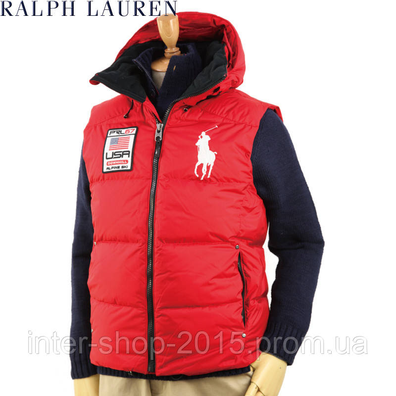 Polo Lauren Alpine Mens Down 67 Big Pony Prl Vest Jacket Ralph Hoode Red Ski Usa 0nwk8OP